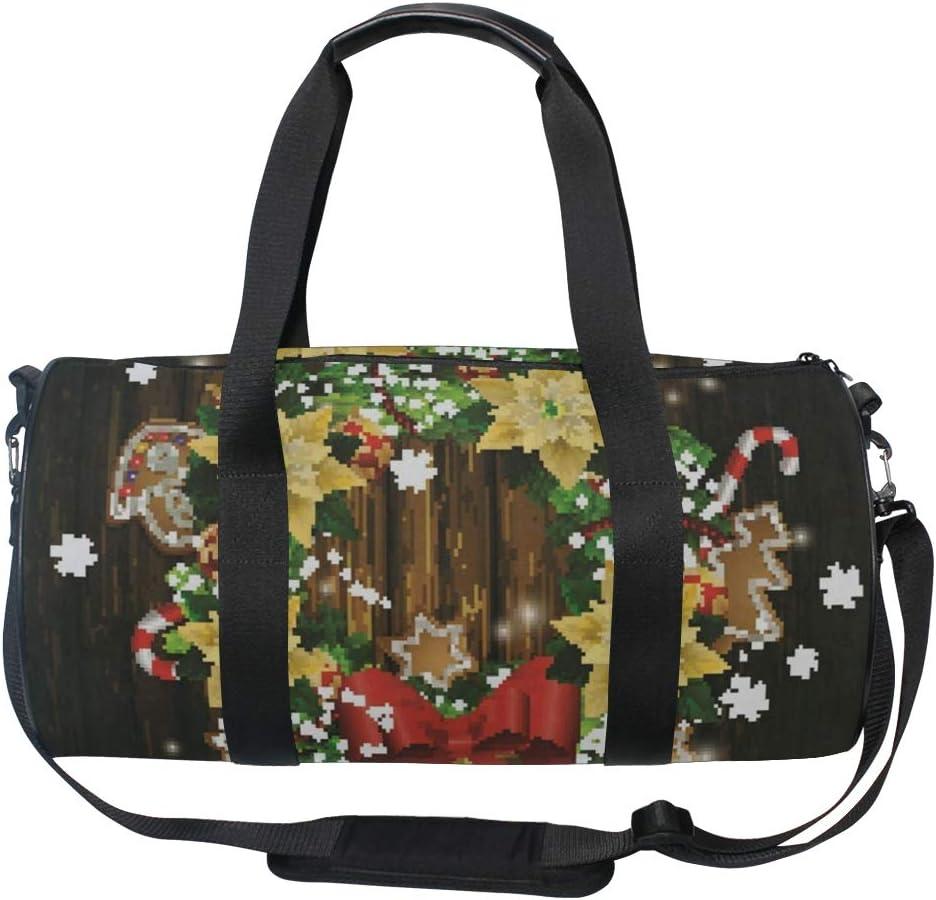 Sports Bag Christmas Wreath 2 Mens Duffle Luggage Travel Bags Kid Lightweight Gym bag