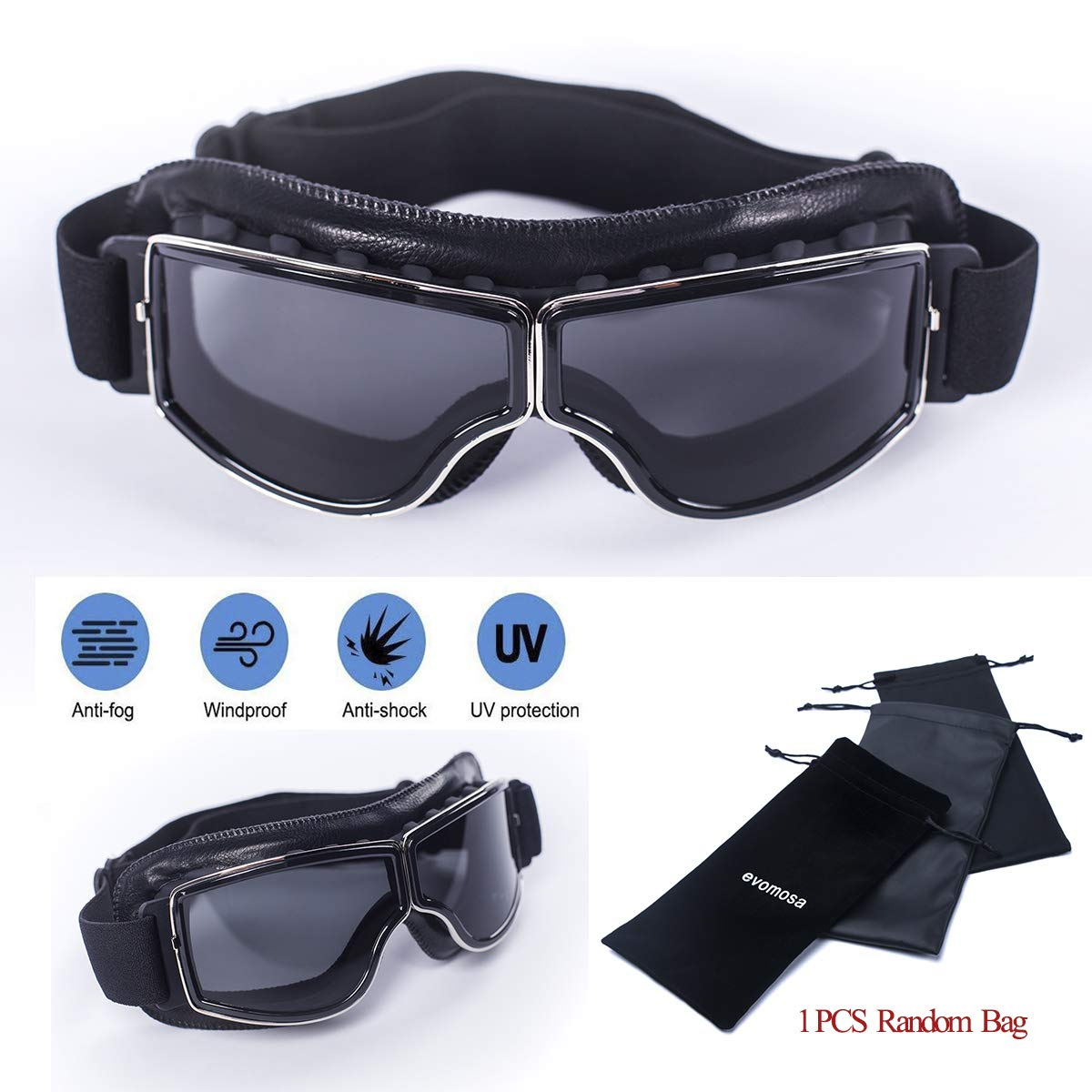 a2dc176efc2 evomosa Motorcycle Riding Goggles Vintage Aviator Pilot Glasses  Anti-Scratch Dust Proof Copper Scooter ATV Dirt Off Road Racing Eyewear Ski  Goggles for Men ...