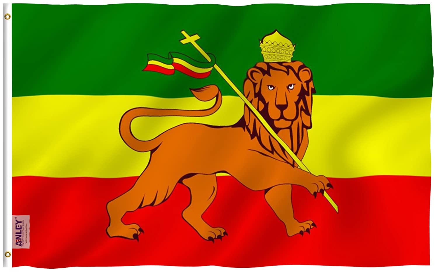 Anley [Fly Breeze 3x5 Foot (90 X 150cm) Ethiopia Flag - Vivid Color and UV Fade Resistant - Canvas Header and Double Stitched - Ethiopian National Flags Polyester with Brass Grommets