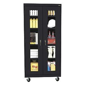 Sandusky Lee TA4V361872-09 Elite Series Transport Mobile Clear View Storage Cabinet, Black