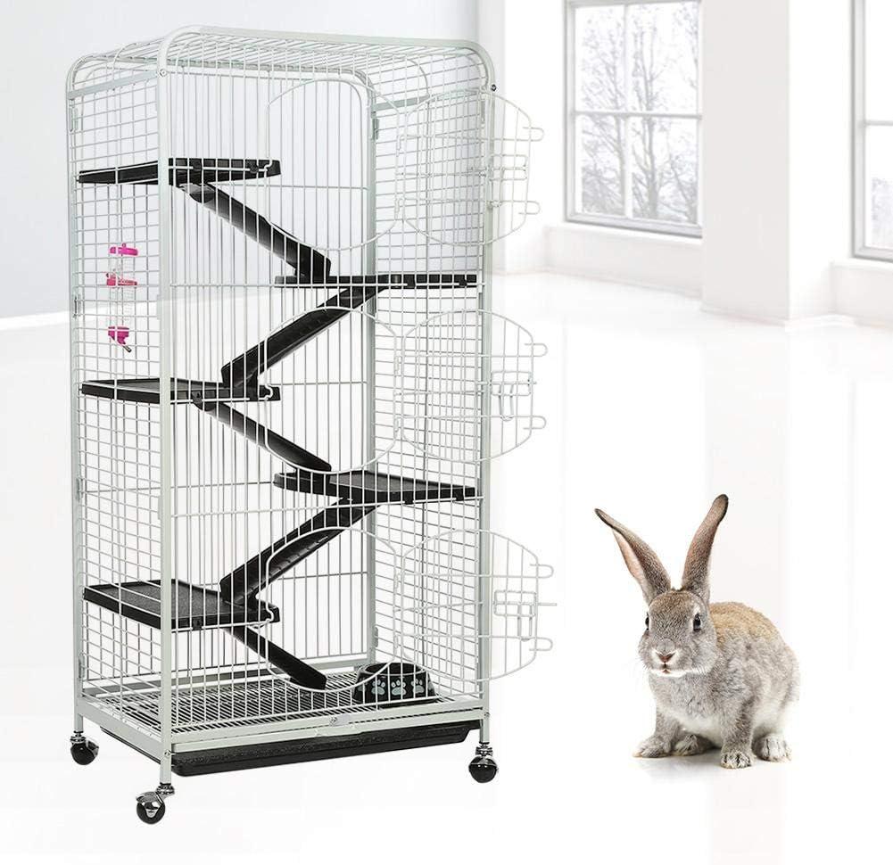 Zoternen - Jaula para Conejos de Hierro, para roedores, cobayas y Chinchillas con 6 Niveles y 3 Puertas, 64 x 44 x 132 cm