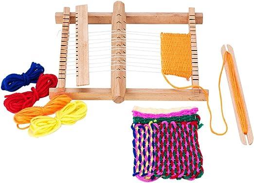 1Set Warp Weft ajustar Varillas Peines y lanzaderas Wood Knitting Looms with Yarns