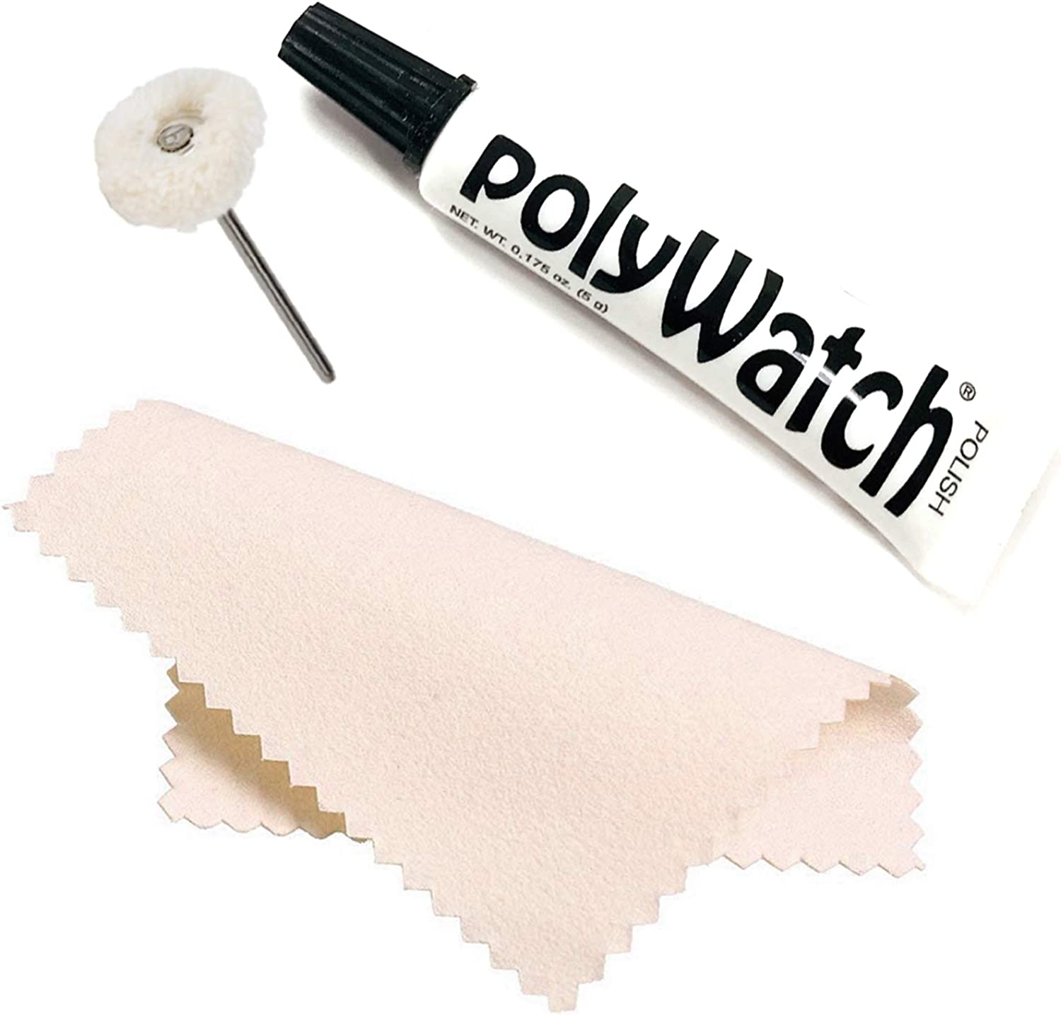 Polywatch Plastic Watch Crystal Scratch Remover String Buff Soft Polisher and Polishing Cloth