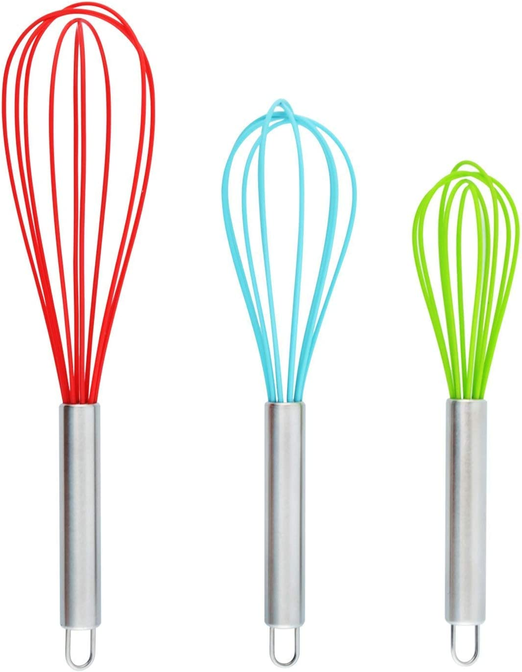 DRAGONN Set of 3 Multi-Color Silicone Whisks with Stainless Steel Handles, Milk & Egg Beater, Balloon Whisk for Blending, Whisking, Beating, and Stirring