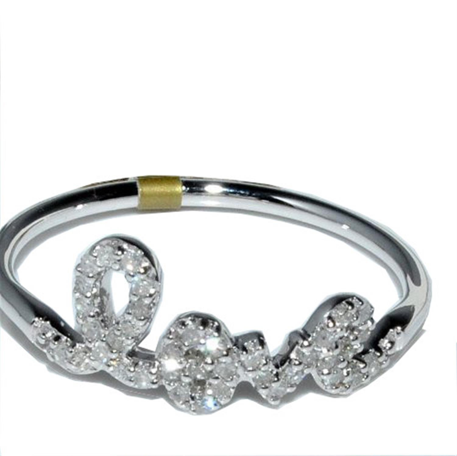 Love Ring White Gold 1/5ctw 10K White Gold real diamonds Valentines day size 7(i2/i3, i/j)
