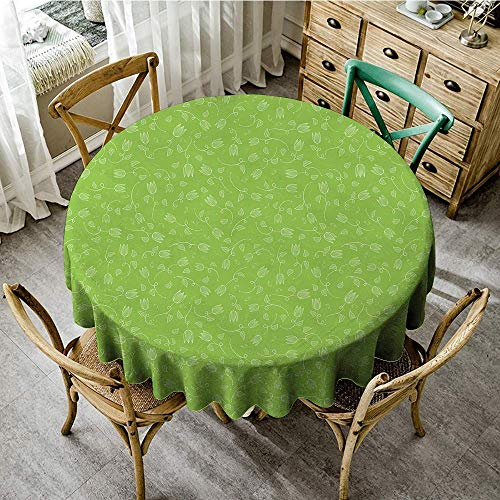 (DONEECKL Polyester Tablecloth Green Doodle Style Tulip Flowers with Swirled Twigs and Leaves Blossoming Nature Indoor Outdoor Camping Picnic D35 Lime Green White)