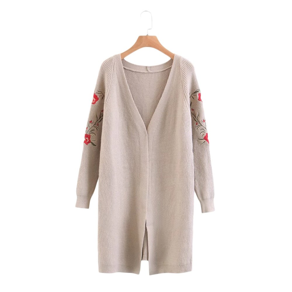 DressLily Women's Open Front Long Sleeve Floral Embroidery Collarless Knit Cardigan Swearter,KHAKI,ONE SIZE