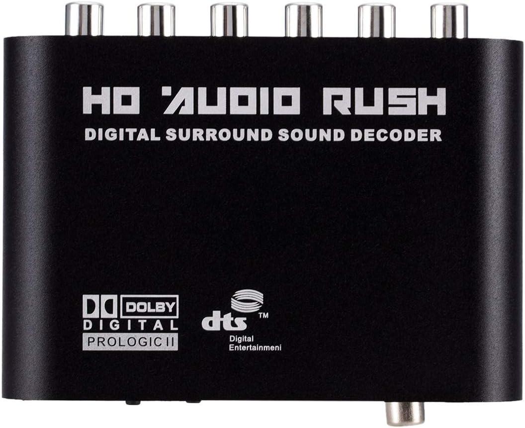 Growment 5.1 Audio Decoder Spdif Coaxial a RCA DTS Ac3 Digital a 5.1 Amplificador Convertidor Anal/ógico para Reproductor De DVD,