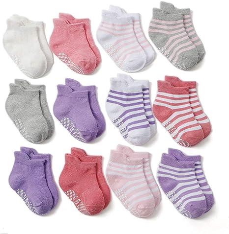 Z-Chen Calcetines Antideslizantes para Bebé Niños (Pack de 12 ...
