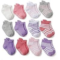 Z-Chen Calcetines Antideslizantes para Bebé Niños (Pack de 12 Pares), Niñas, 0-1 Años