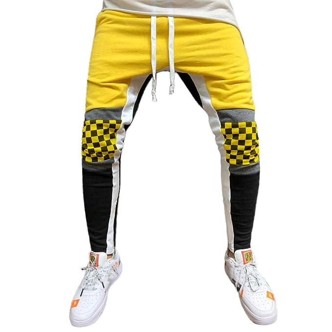 YanHoo Hombres Empalme Enrejado Trajes Casual Pocket Sport Trabajo Casual Pantalones de pantalón Pantalones Deportivos de Entrenamiento de Cuadros a Cuadros ...