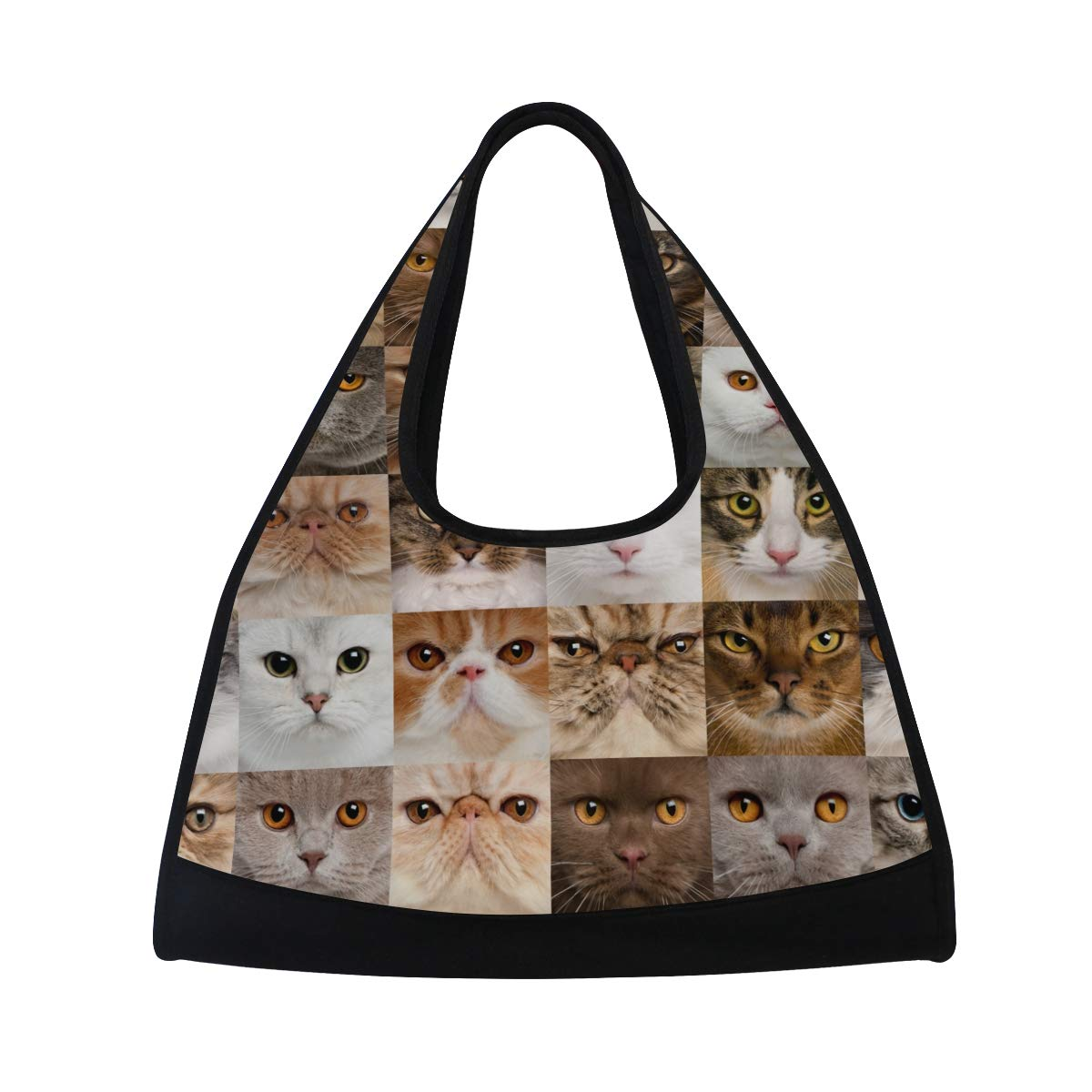 Gym Bag Sports Holdall Collage Of 36 Cat Heads Canvas Shoulder Bag Overnight Travel Bag for Men and Women