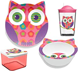 TarHong 4 Piece Friendly Faces New Zoo Owl Childrens Dinnerware Set, Multicolored