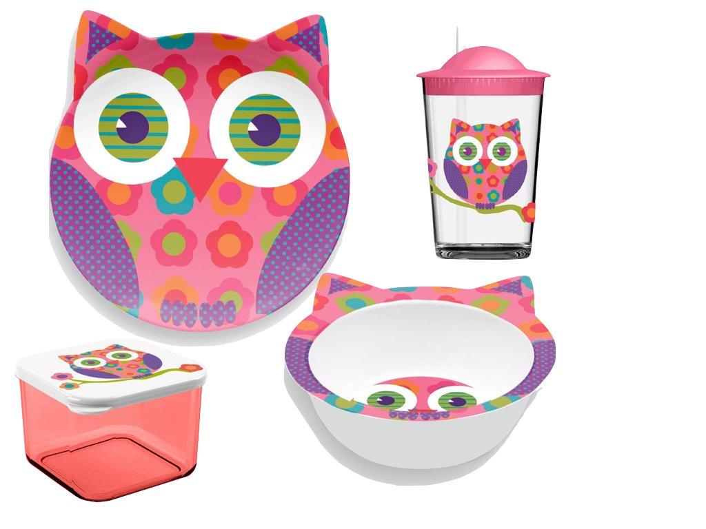 TarHong 4 Piece Friendly Faces新しい動物園フクロウ子供の食器セット、マルチカラー   B00U0IUI6I