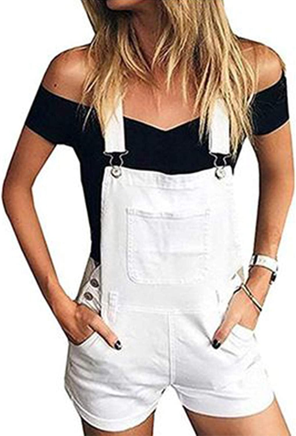 Doublju Womens Stylish Denim Pocket Overalls Hot Shorts with Plus Size
