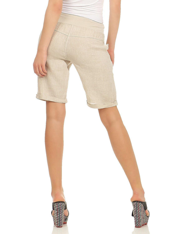 S, M, L, XL ZARMEXX Pantalones Cortos de Lino de Mujer Pantalones Cortos de Rodilla Bermuda Pantalones Cortos de Slip hasta la Rodilla