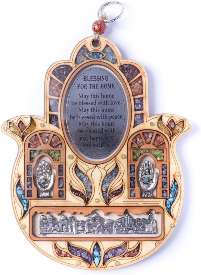 Anandashop Home Blessing (Italian) - New Jerusalem Evil Eye Hand of Fatima Wood Wall Hanging Hamsa Home Blessing with Semi Precious Stones Gift