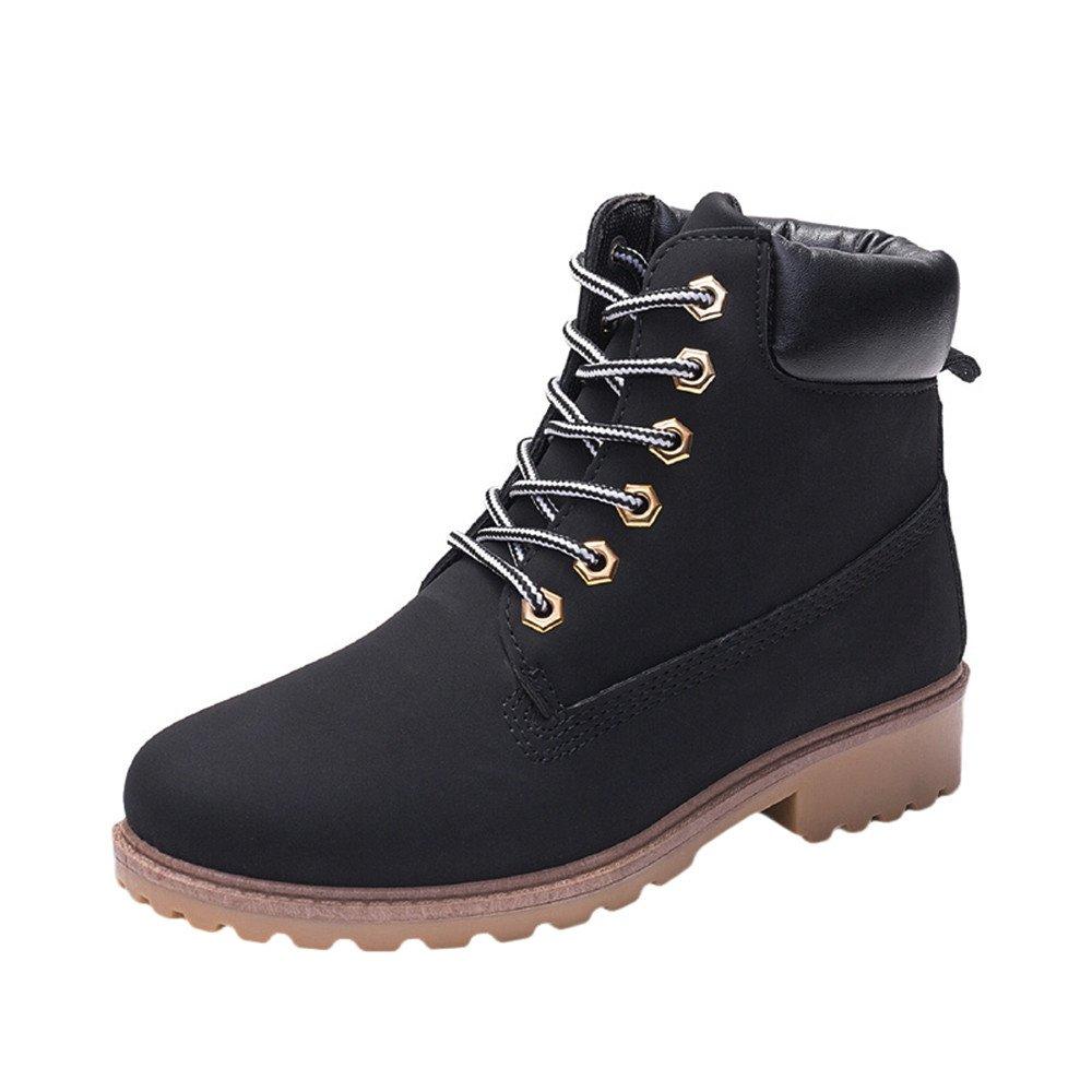 Kauneus Women Short Combat Chelsea Retro Lace Up Martin Ankle High Tops Boots Work Hiking Trail Biker Shoes Black