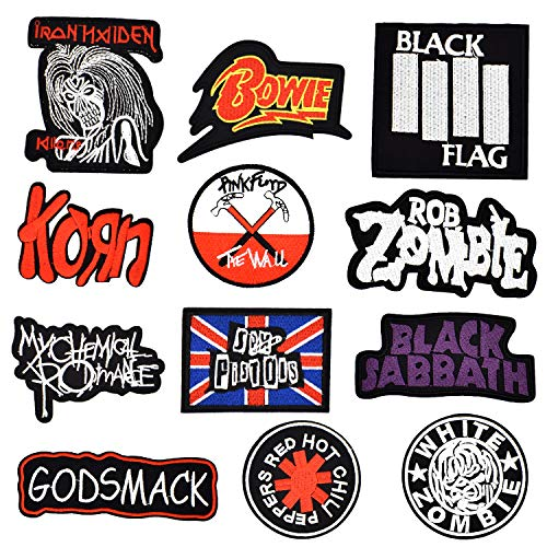 Riao-Tech 12 pc. Rock Punk Band Patch Set Iron on Sew on Patches, My Chemical Romance, Iron Maiden, Black Flag, Pink Floyd The Wall, Red Hot Chili Peppers, Korn, White Zombie