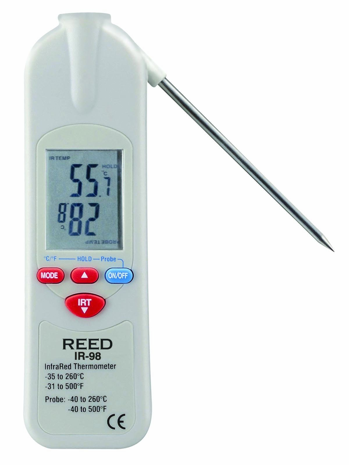 Reed IR-98 Infrared Food Service Thermometer with Integral Thermistor Probe, -35 to 260 Degrees C Range, 0.1 Degrees C Resolution, 2 Degrees C Accuracy