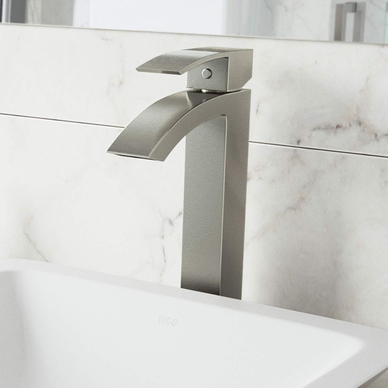 VIGO VG03007BN Duris Brushed Nickel Bathroom Faucet, Single Lever Plated Seven Layer Antique Brass Bathroom Lavatory Vessel Faucet for Vessel Sink