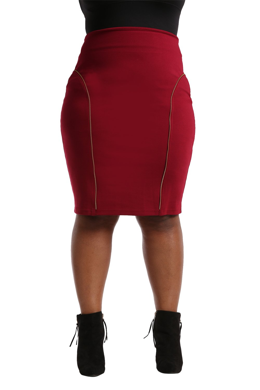 Poetic Justice Plus Size Women's Curvy Fit Red Stretch Ponte Zipper Trim Pencil Skirt Size 1X
