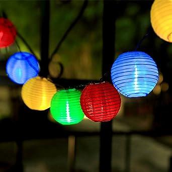 InnooTech – Cadena de luces solares lámpara de papel– 30 farolillos LED 6 m iluminación para jardín