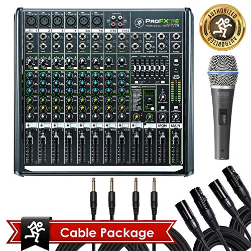 Mackie PROFX12v2 Pro 12 Channel Compact Mixer Effects PROFX12 V2 with Bundle