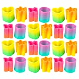 Kicko Assorted Shape Springs - 24 Pack - 1.4 Inch Plastic Coil Springs in Different Colors and Figures for Toy Collection, Class Rewards, Playtime Activity, Pinata Fillers, Goody Bags