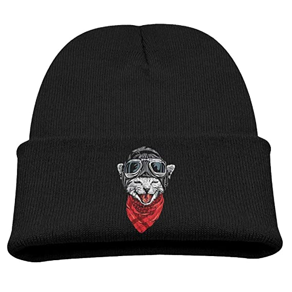 Cute Astronaut Howling Cat with Scarf.PNG Unisex Kids Beanie Caps Black Black: Amazon.es: Ropa y accesorios