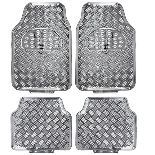 (BDK MT-641-SL Universal Fit 4-Piece Set Metallic Design Car Floor Mat-Heavy Duty All Weather with Rubber Backing (Silver))