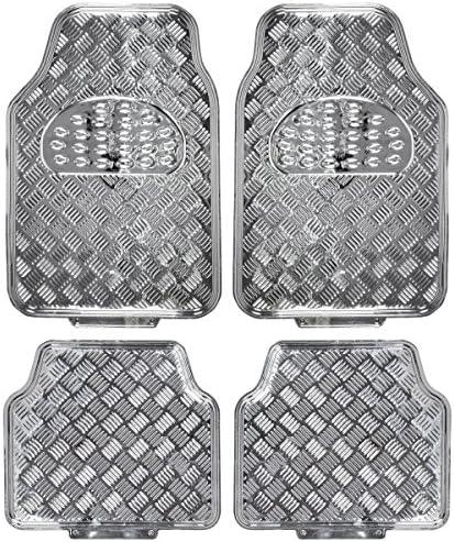 BDK Universal Fit 4-Piece Metallic Design Car Floor Mat – (Silver) (MT-641-SL)