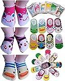 BS® 5 Pairs Age 0-2 Newborn Baby Toddler Anti Slip Skid Socks + Gift bag + Gift Card, Stripes No-Show Crew Boat Socks Footsocks sneakers, Length 9-15cm/3.54-5.9inch