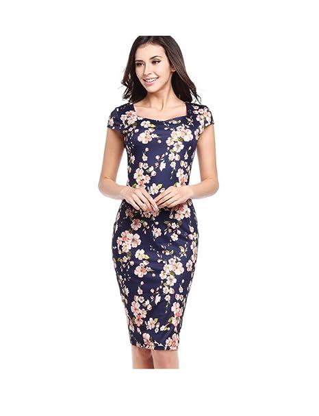 Bestgift Damen Vintage Rundhals Bodycon Pencil Kleider Business Knielange  Abendkleider kürzarm Kleid Bleistiftkleid Dunkel Blau unten f6f4dde46a