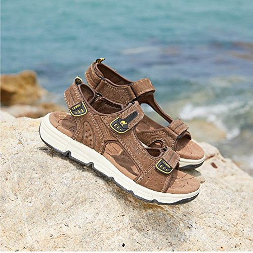 Mens Cowhide Leather Comfort Sport Sandals Outdoor Walking Sandals Beach Waterproof Strap Open Toe Shoes for Men,Dark Brown,250mm by Camel (Image #7)