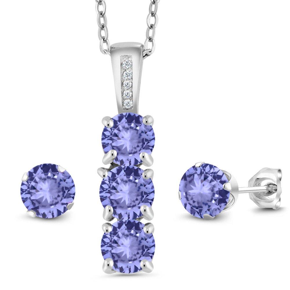 2.34 Ct Blue Tanzanite White Diamond 925 Sterling Silver Pendant Earrings Set
