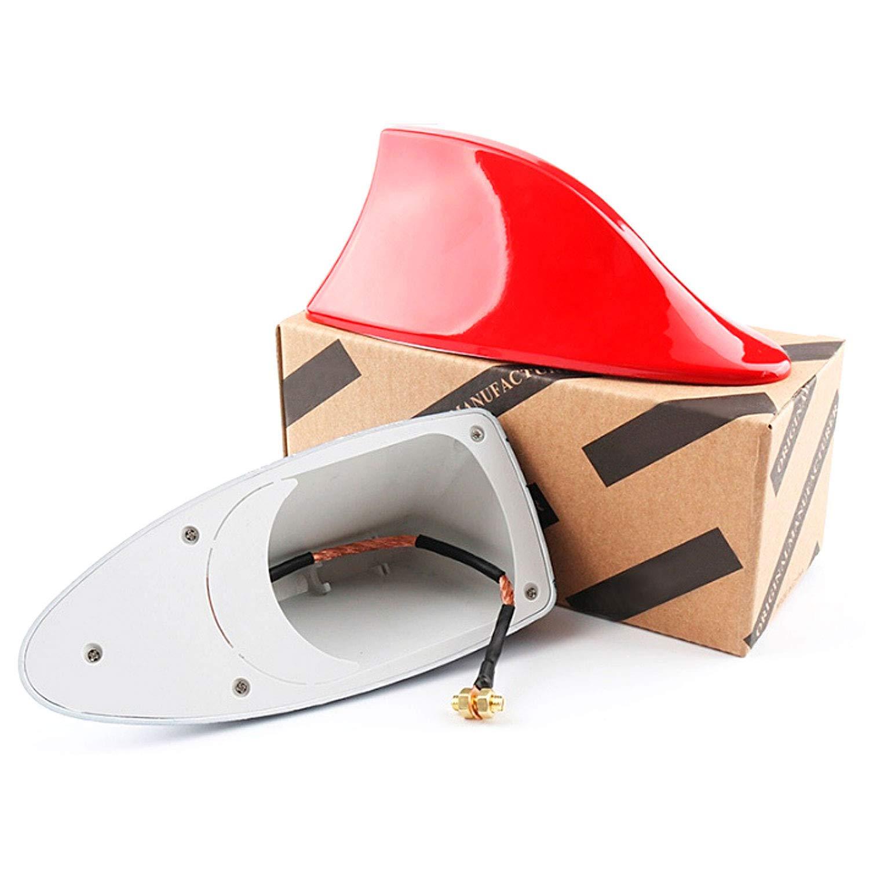 zanasta Antenna Adesiva Universale per Auto 17cm Design Pinna di Squalo Shark Radio FM//AM Rosso