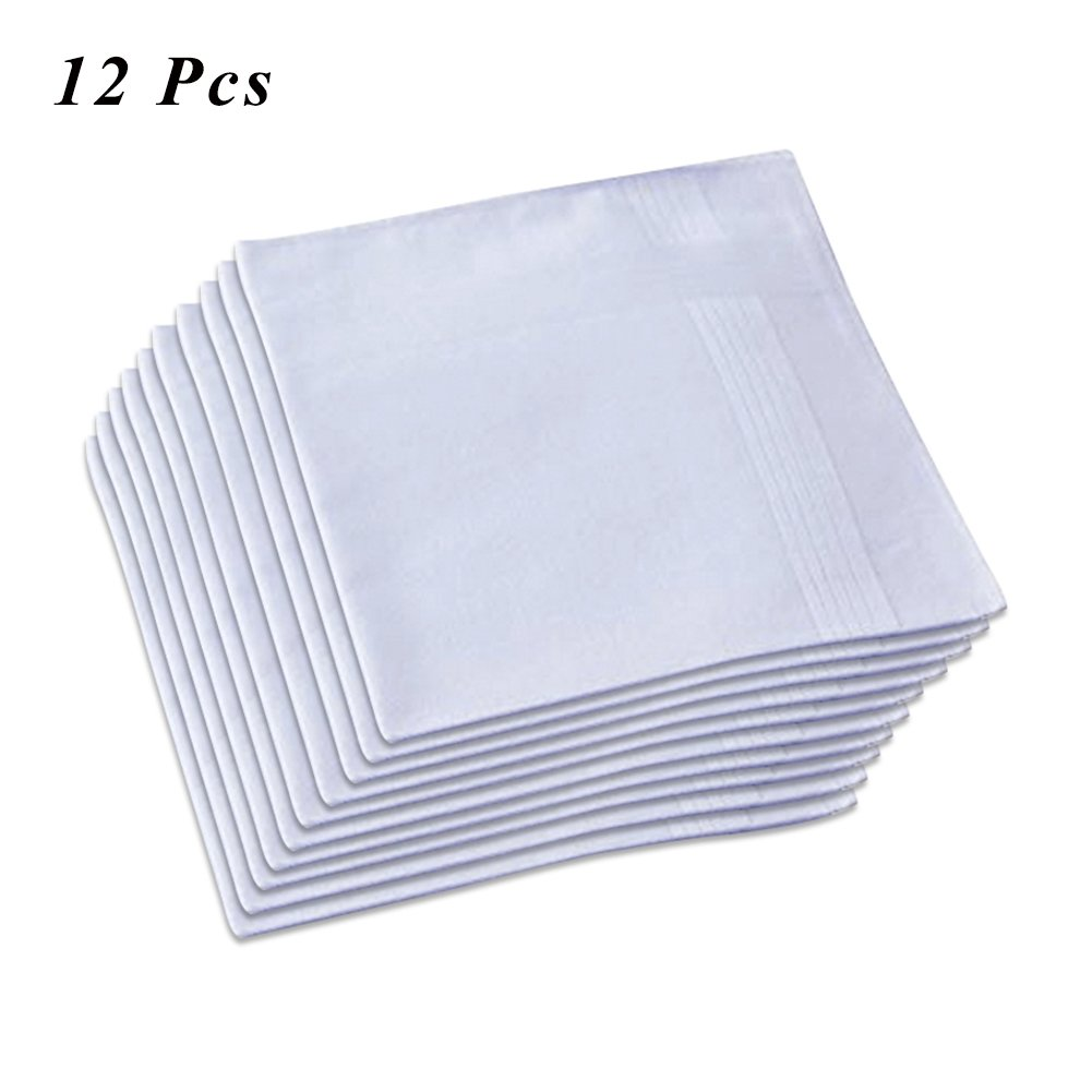 Ecseo Handkerchiefs Mens Cotton, White Handkerchief Men 100% Cotton Soft and Durable - 12 Pack