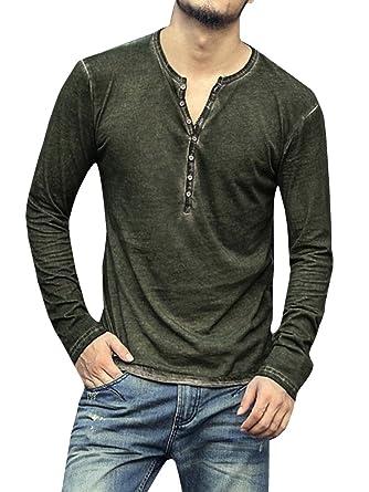 34738de1 Pengfei Mens Long Sleeve Shirts Henley Slim Fit Lightweight V Neck Casual  Cotton Basic T Shirts