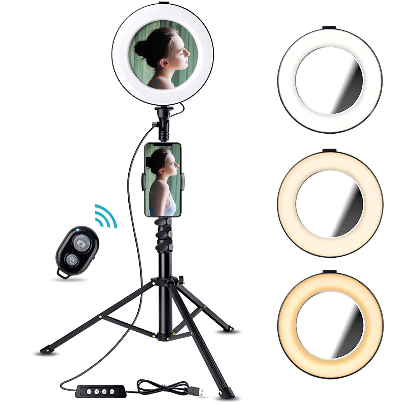 8'' Selfie Ring Light with Tripod Stand & Cell Phone Holder for Live Stream/YouTube Videos, Bosledy Makeup Lights with Mirror, Mini Led Camera Ringlight for Photography by Bosledy