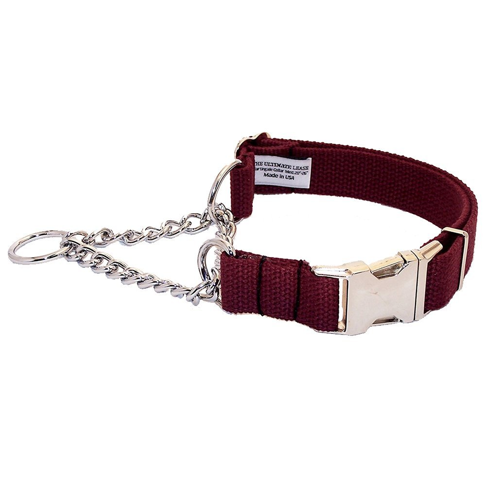 Burgundy Cotton Martingale Dog Collar | Made in the USA | Adjustable, Small, Medium, Large, Top Quality, Premium, Heavy Duty, Durable, Strong, Nickel Plated Steel, Wide, Training - The Ultimate Leash