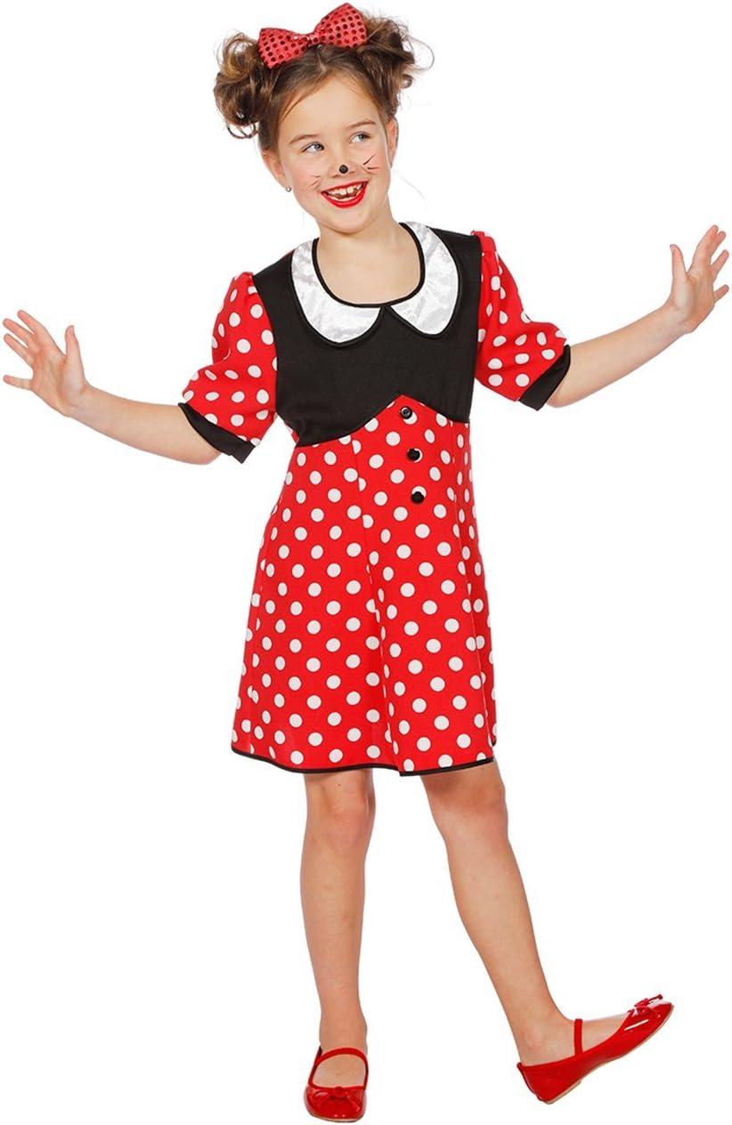 Disfraz de ratón para niña Rojo con Lunares Blancos, ratón de ...