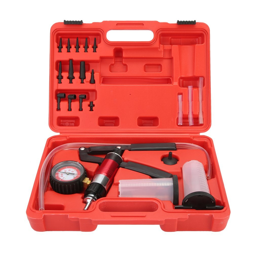KinshopS Car Auto Hand Held Vacuum Pump Brake Bleed Bleeder Set Bleed Fluid Reservoir Tester Tool Kit Diagnostic Garage Tools Hand Vacuum Pump