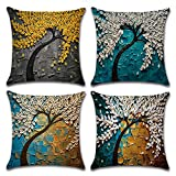 MIULEE Pack of 4 Decorative Oil Painting Tree Outdoor Pillow Cushion Cover Set Cotton Linen for Sofa Bedroom Car 18 x 18 Inch 45 x 45 Cm