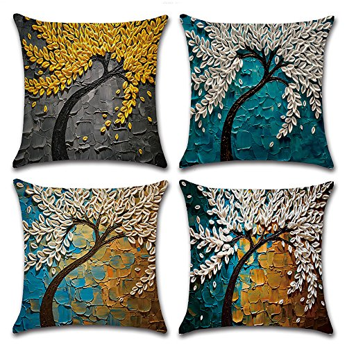 - MIULEE Pack of 4 Decorative Oil Painting Tree Outdoor Pillow Cushion Cover Set Cotton Linen for Sofa Bedroom Car 18 x 18 Inch 45 x 45 cm