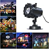 Halloween Projector Lamp, LAFEINA 16 Patterns Birthday Christmas Projection Light 16 Replaceable Lens Auto Moving Landscape Spotlights for Xmas Halloween Thanksgiving Wedding Party Garden Decoration