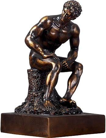 Il Pensatore Cast Freddo Bronzo Scultura,maschio Nudo Statua