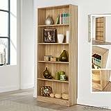 Tall Bookcase Display Storage Wooden Bookshelf Home Office 5 Shelves MagzineRack