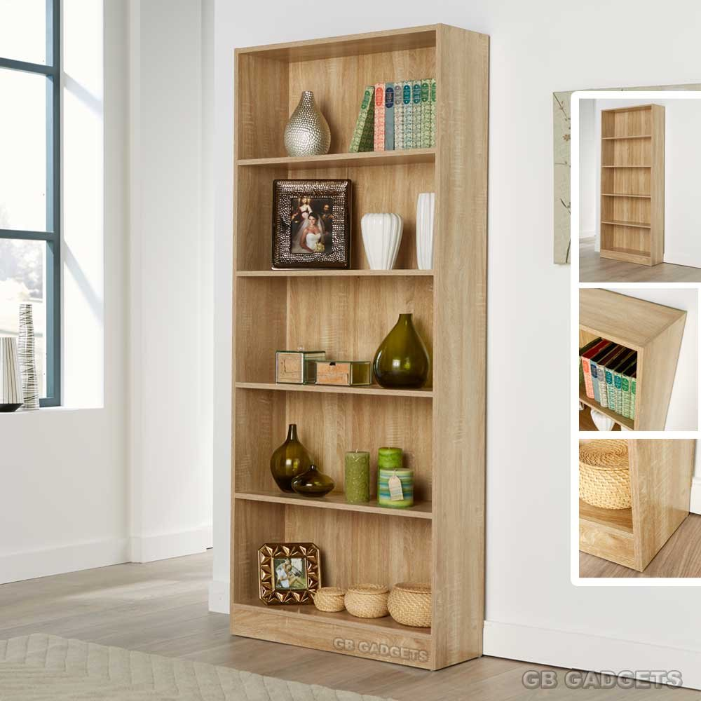 Tall Bookcase Display Storage Wooden BookShelf Home Office 5 Shelves MagzineRack GB Furniture