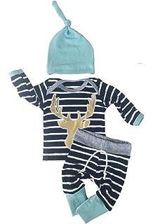 983984420a06 3pcs Set Newborn Baby Boys Girls Striped Long Sleeve Deer Tops Pants Hat  Outfits